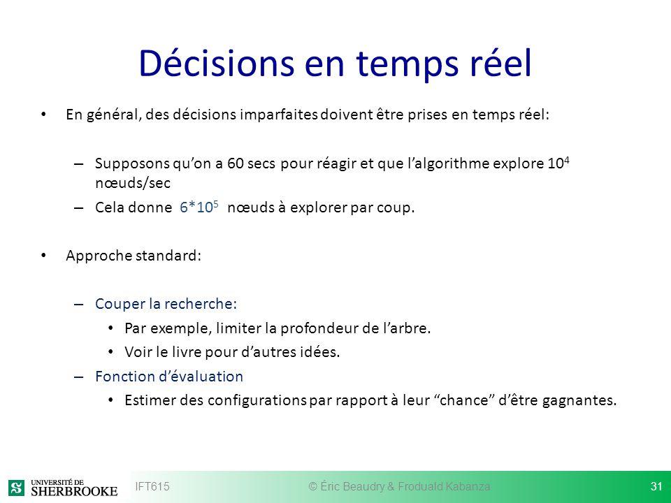 Décisions en temps réel En général, des décisions imparfaites doivent être prises en temps réel: – Supposons quon a 60 secs pour réagir et que lalgori