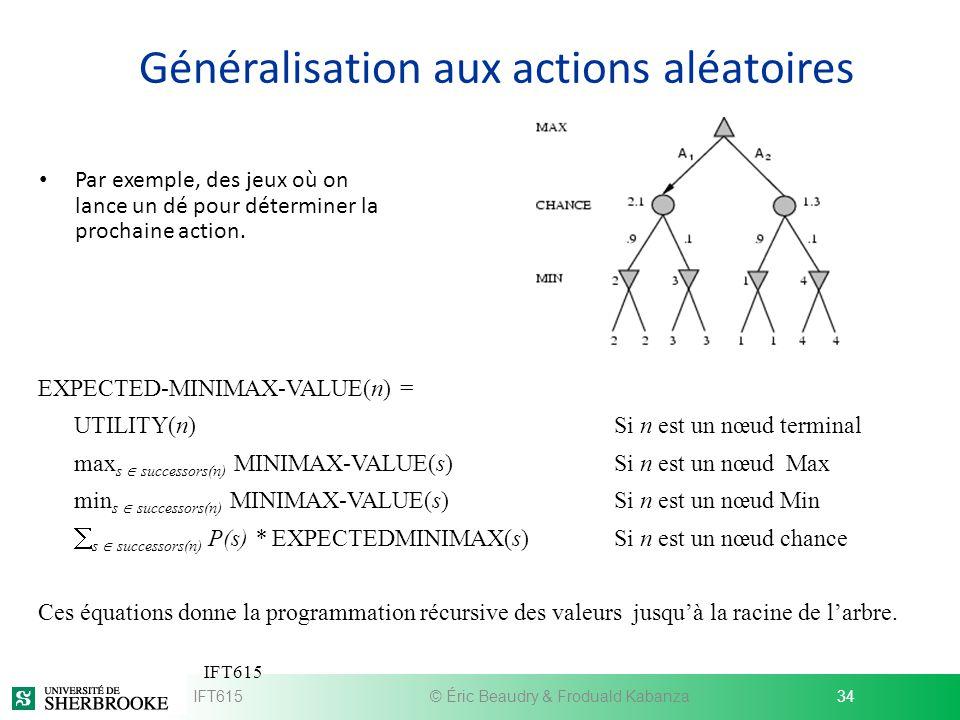 Généralisation aux actions aléatoires Par exemple, des jeux où on lance un dé pour déterminer la prochaine action. IFT615© Éric Beaudry & Froduald Kab