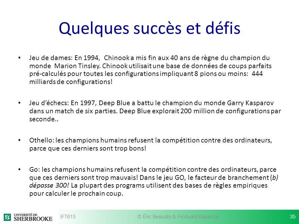 Quelques succès et défis Jeu de dames: En 1994, Chinook a mis fin aux 40 ans de règne du champion du monde Marion Tinsley. Chinook utilisait une base