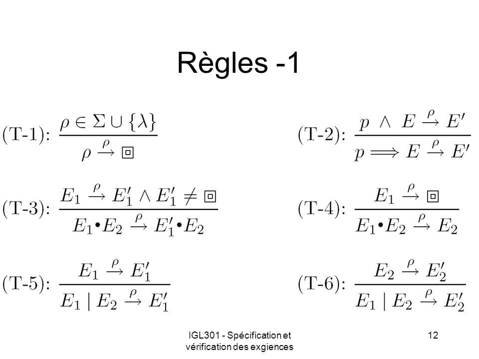 IGL301 - Spécification et vérification des exgiences 12 Règles -1