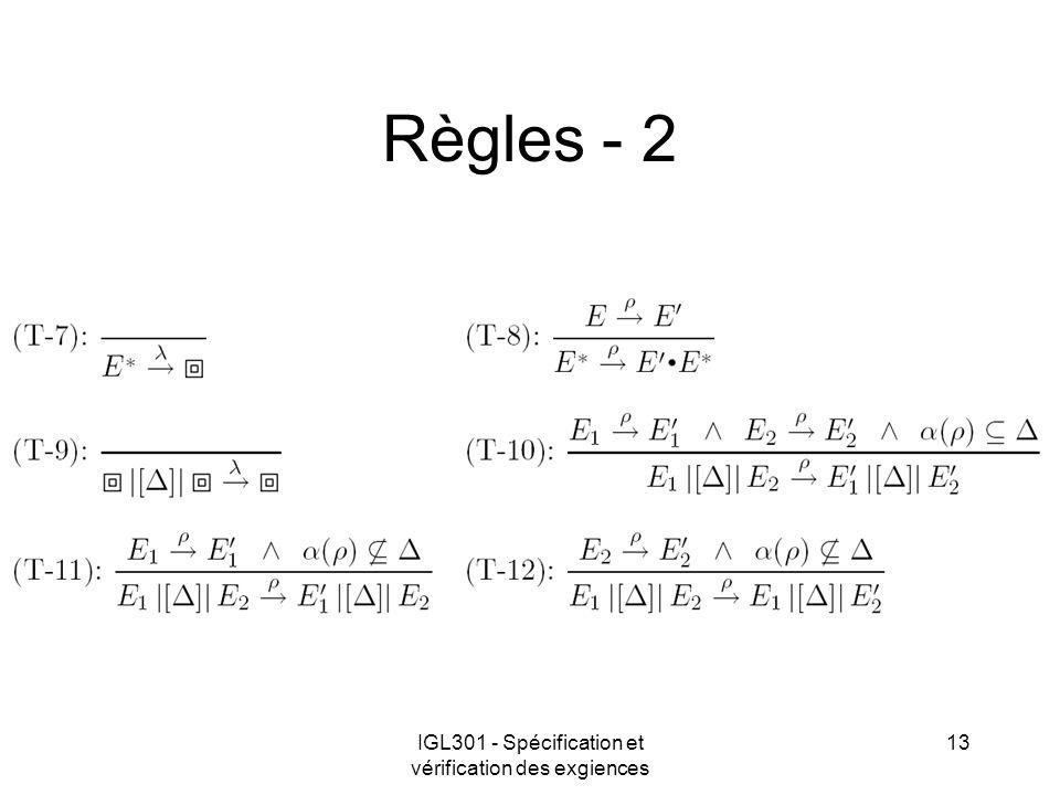 IGL301 - Spécification et vérification des exgiences 13 Règles - 2
