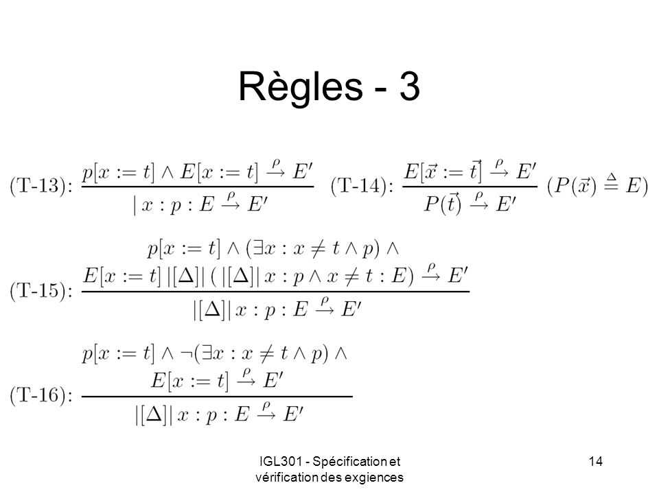 IGL301 - Spécification et vérification des exgiences 14 Règles - 3