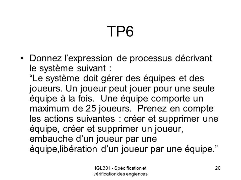 IGL301 - Spécification et vérification des exgiences 20 TP6 Donnez lexpression de processus décrivant le système suivant : Le système doit gérer des équipes et des joueurs.