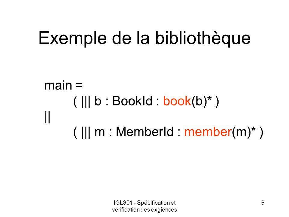 IGL301 - Spécification et vérification des exgiences 6 Exemple de la bibliothèque main = ( ||| b : BookId : book(b)* ) || ( ||| m : MemberId : member(m)* )