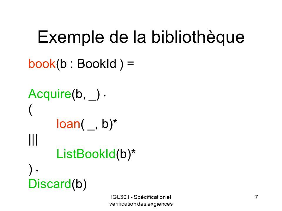 IGL301 - Spécification et vérification des exgiences 7 Exemple de la bibliothèque book(b : BookId ) = Acquire(b, _) ( loan( _, b)* ||| ListBookId(b)* ) Discard(b)