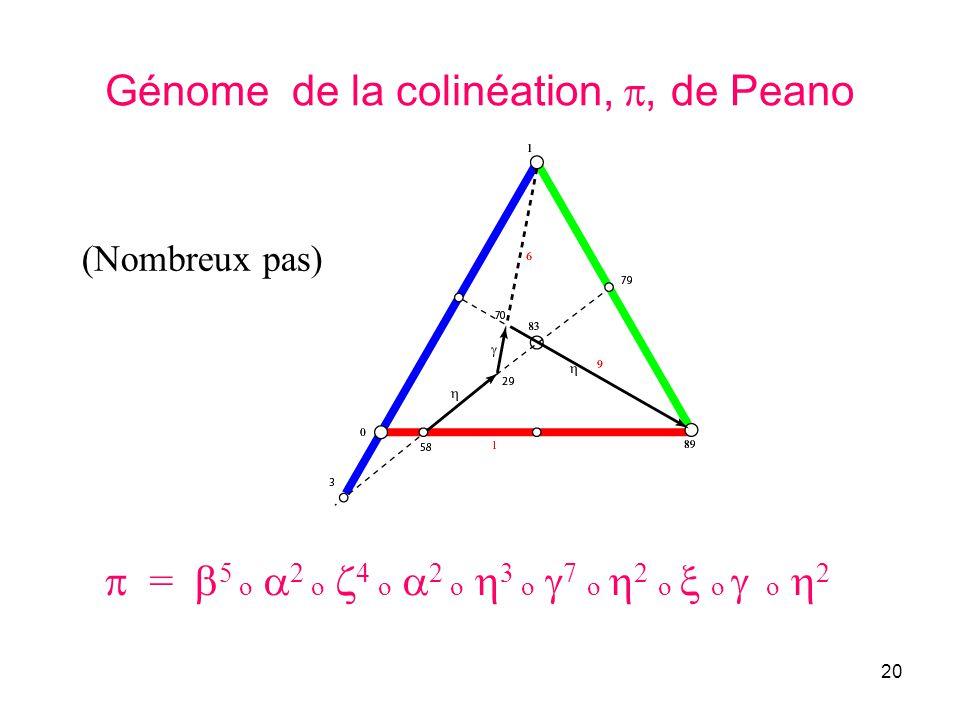 20 Génome de la colinéation,, de Peano = 5 o 2 o 4 o 2 o 3 o 7 o 2 o o o 2 (Nombreux pas)