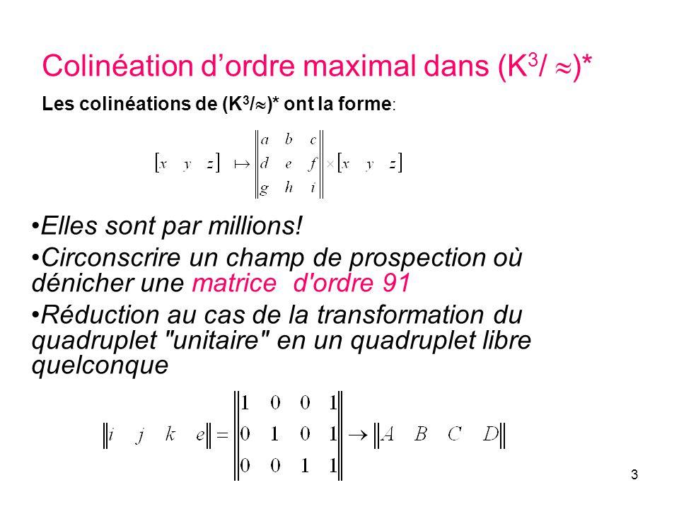 3 Colinéation dordre maximal dans (K 3 / )* Les colinéations de (K 3 / )* ont la forme : Elles sont par millions! Circonscrire un champ de prospection