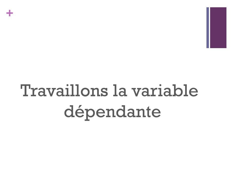 + Travaillons la variable dépendante