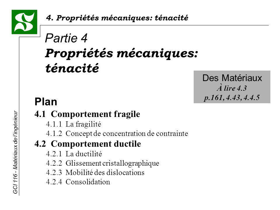 4. Propriétés mécaniques: ténacité GCI 116 - Matériaux de lingénieur Plan 4.1 Comportement fragile 4.1.1 La fragilité 4.1.2 Concept de concentration d