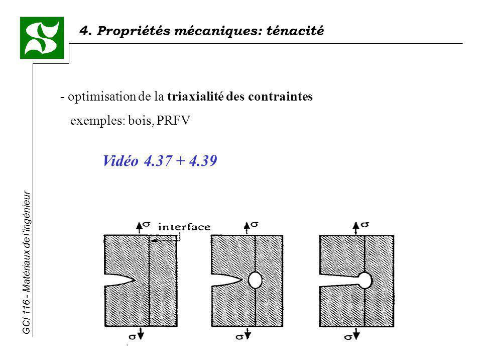 4. Propriétés mécaniques: ténacité GCI 116 - Matériaux de lingénieur - optimisation de la triaxialité des contraintes exemples: bois, PRFV Vidéo 4.37