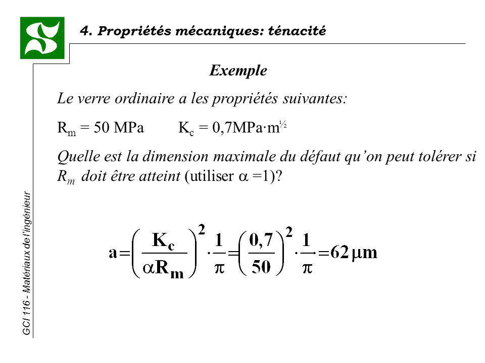 4. Propriétés mécaniques: ténacité GCI 116 - Matériaux de lingénieur Exemple Le verre ordinaire a les propriétés suivantes: R m = 50 MPaK c = 0,7MPa·m