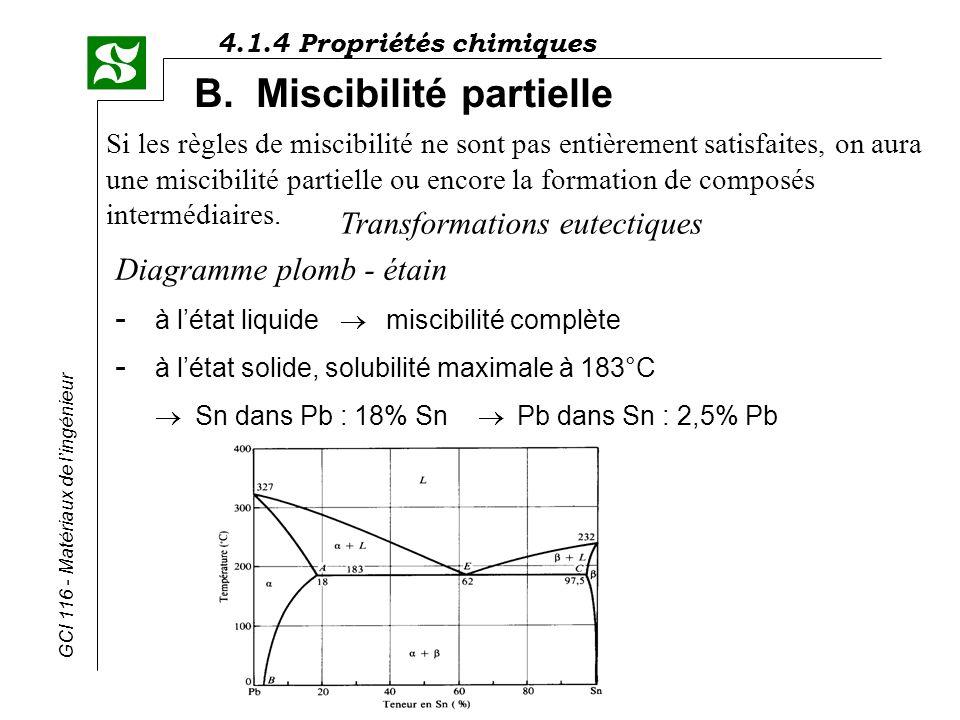 4.1.4 Propriétés chimiques GCI 116 - Matériaux de lingénieur B. Miscibilité partielle Si les règles de miscibilité ne sont pas entièrement satisfaites