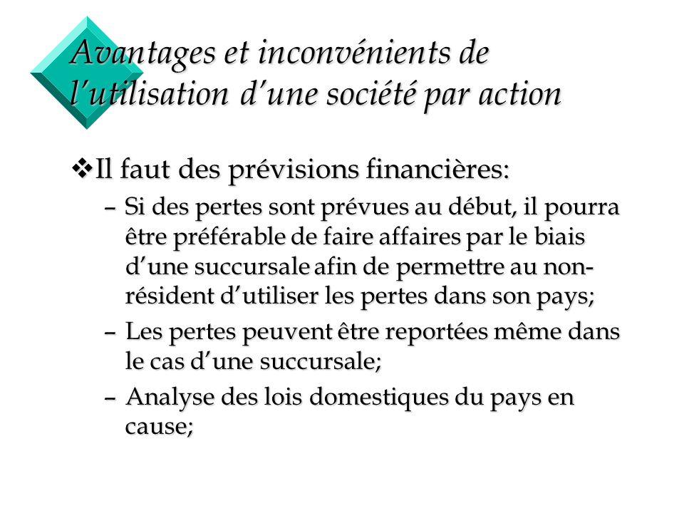 10 Avantages et inconvénients de lutilisation dune société par action vIl faut des prévisions financières: –Si des pertes sont prévues au début, il po