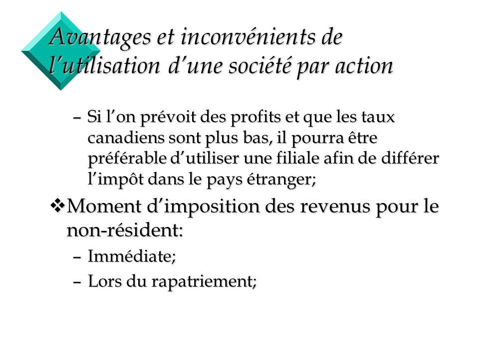 11 Avantages et inconvénients de lutilisation dune société par action –Si lon prévoit des profits et que les taux canadiens sont plus bas, il pourra ê