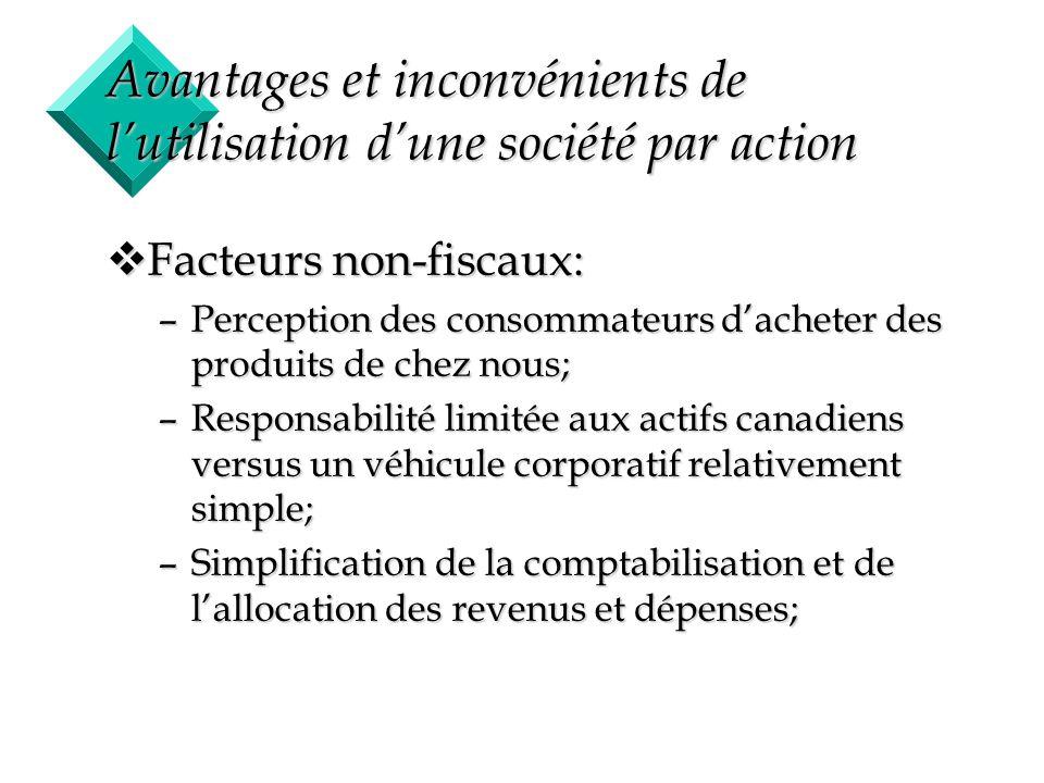 14 Avantages et inconvénients de lutilisation dune société par action vFacteurs non-fiscaux: –Perception des consommateurs dacheter des produits de ch