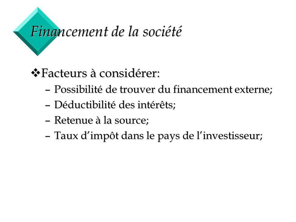 16 Financement de la société vFacteurs à considérer: –Possibilité de trouver du financement externe; –Déductibilité des intérêts; –Retenue à la source