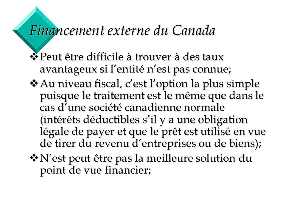 17 Financement externe du Canada vPeut être difficile à trouver à des taux avantageux si lentité nest pas connue; vAu niveau fiscal, cest loption la p