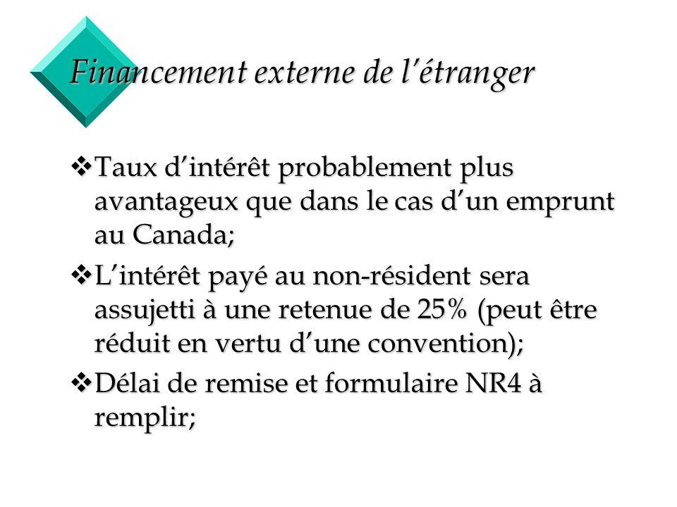 18 Financement externe de létranger vTaux dintérêt probablement plus avantageux que dans le cas dun emprunt au Canada; vLintérêt payé au non-résident