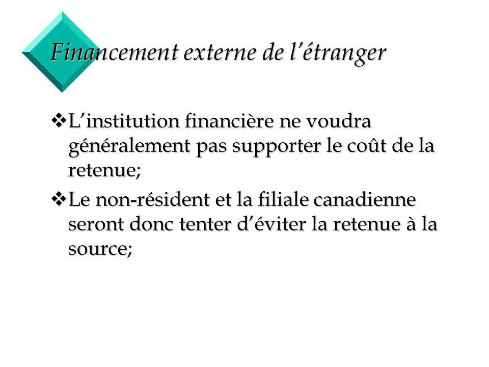 19 Financement externe de létranger vLinstitution financière ne voudra généralement pas supporter le coût de la retenue; vLe non-résident et la filial
