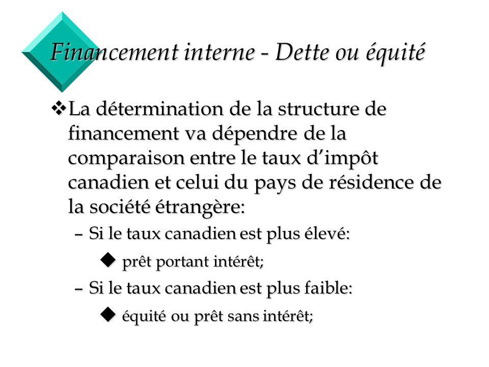 22 Financement interne - Dette ou équité vLa détermination de la structure de financement va dépendre de la comparaison entre le taux dimpôt canadien