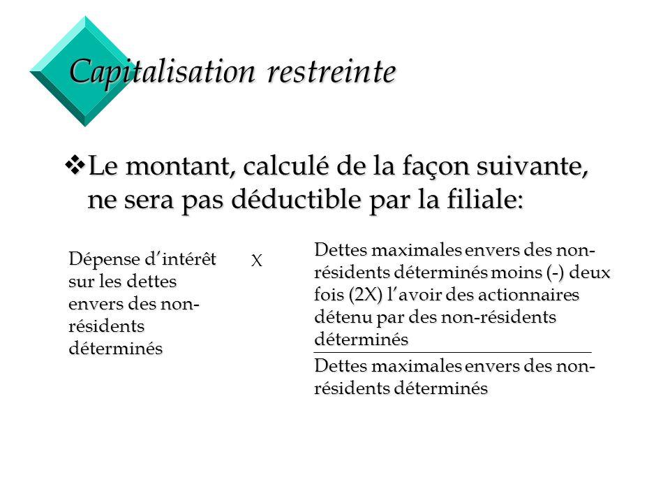 24 Capitalisation restreinte vLe montant, calculé de la façon suivante, ne sera pas déductible par la filiale: Dépense dintérêt sur les dettes envers