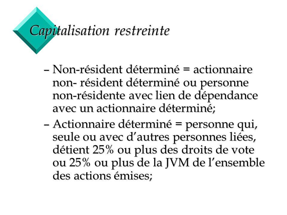 25 Capitalisation restreinte –Non-résident déterminé = actionnaire non- résident déterminé ou personne non-résidente avec lien de dépendance avec un a