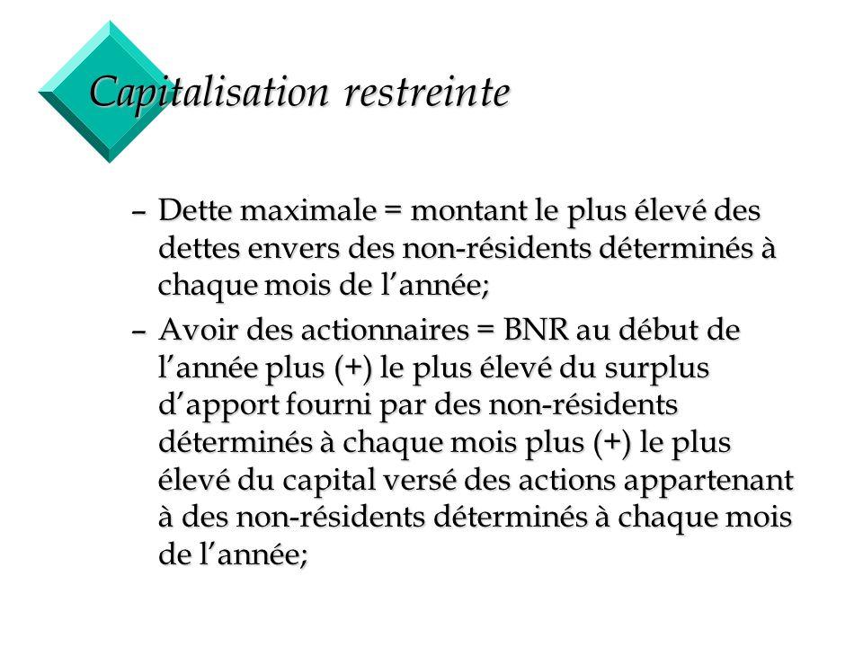 26 Capitalisation restreinte –Dette maximale = montant le plus élevé des dettes envers des non-résidents déterminés à chaque mois de lannée; –Avoir de