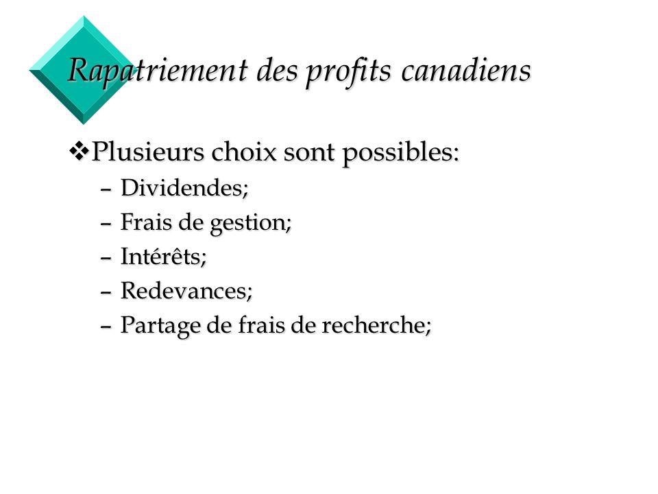 28 Rapatriement des profits canadiens vPlusieurs choix sont possibles: –Dividendes; –Frais de gestion; –Intérêts; –Redevances; –Partage de frais de re