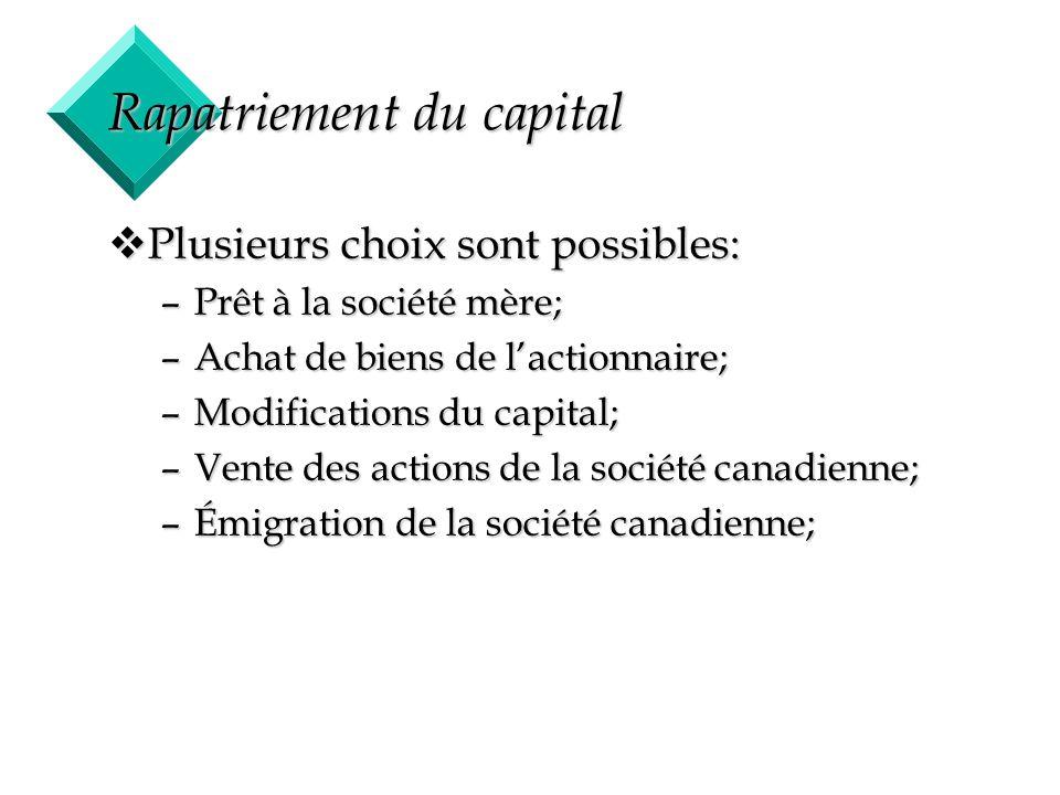 38 Rapatriement du capital vPlusieurs choix sont possibles: –Prêt à la société mère; –Achat de biens de lactionnaire; –Modifications du capital; –Vent