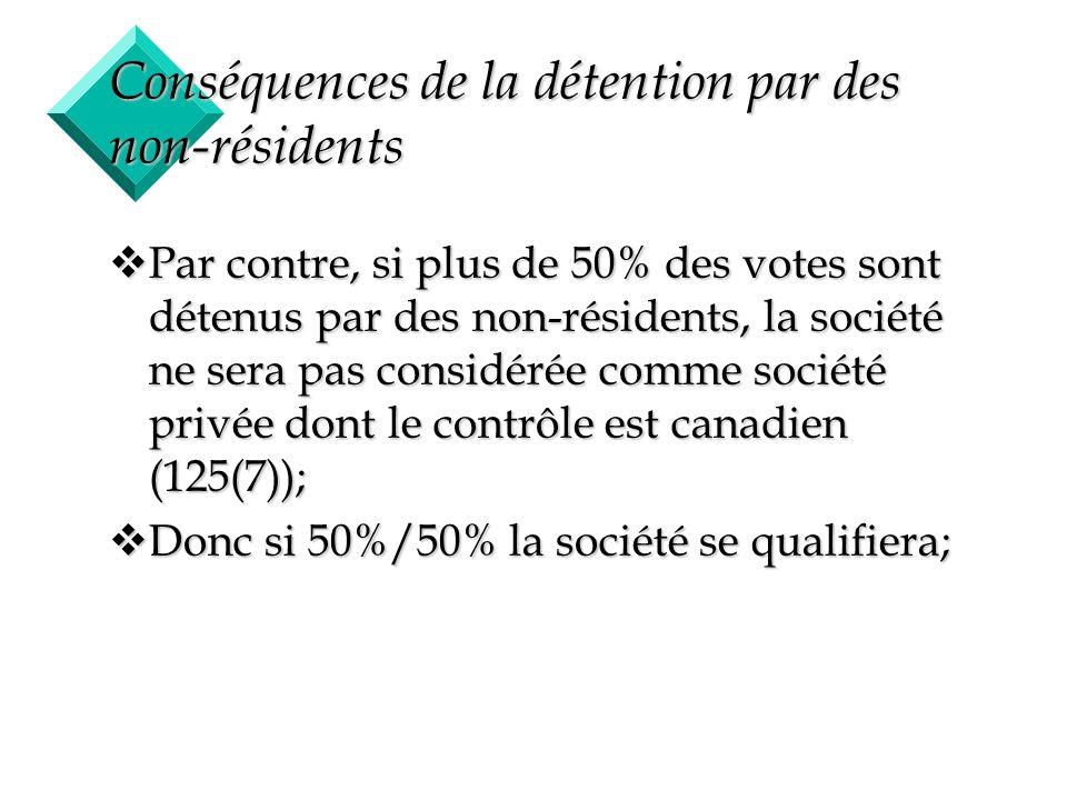 4 Conséquences de la détention par des non-résidents vPar contre, si plus de 50% des votes sont détenus par des non-résidents, la société ne sera pas