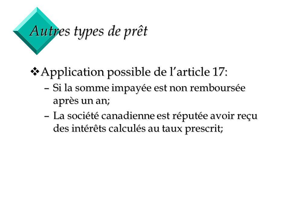 41 Autres types de prêt vApplication possible de larticle 17: –Si la somme impayée est non remboursée après un an; –La société canadienne est réputée