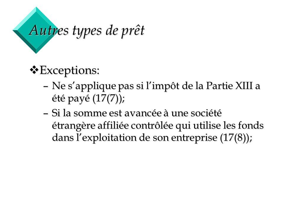 42 Autres types de prêt vExceptions: –Ne sapplique pas si limpôt de la Partie XIII a été payé (17(7)); –Si la somme est avancée à une société étrangèr