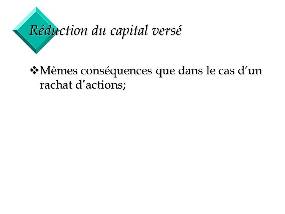 45 Réduction du capital versé vMêmes conséquences que dans le cas dun rachat dactions;