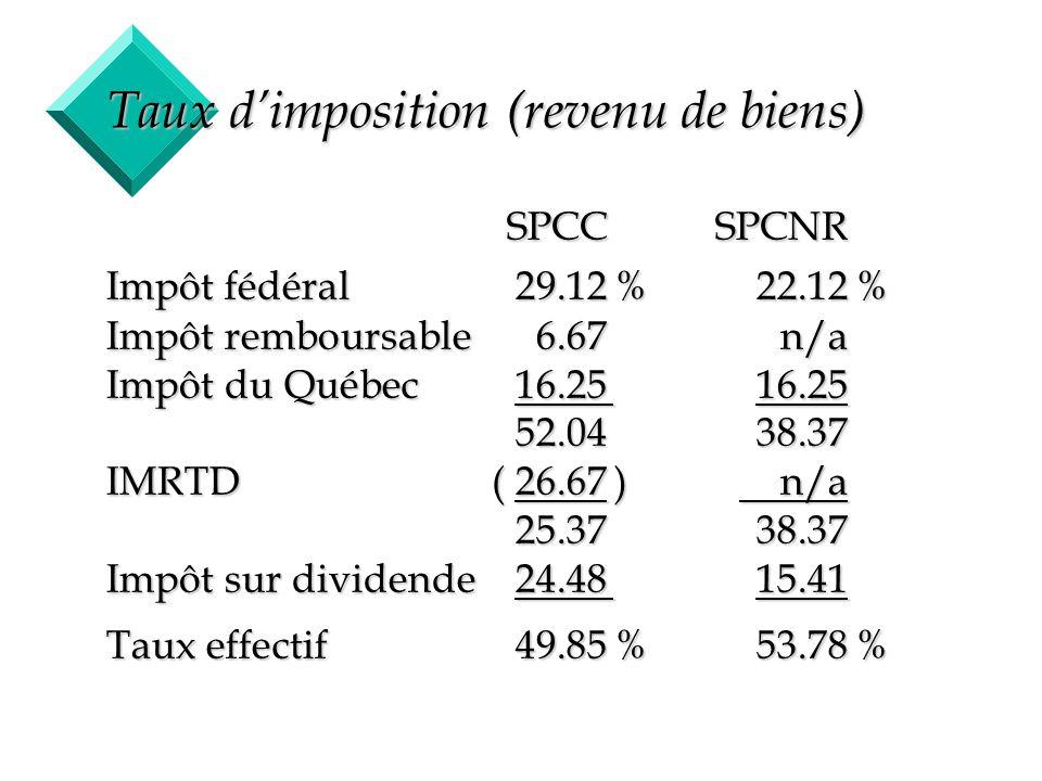8 Taux dimposition (gain en capital) SPCCSPCNR Impôt fédéral14.56%11.06% Impôt remboursable3.33n/a Impôt du Québec 8.138.13 26.0219.19 IMRTD( 13.33) n/a 12.6919.19 Impôt sur dividende12.2420.20 Taux effectif24.93%39.39%