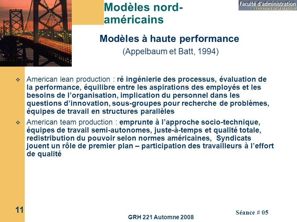 GRH 221 Automne 2008 11 Séance # 05 Modèles nord- américains American lean production : ré ingénierie des processus, évaluation de la performance, équ