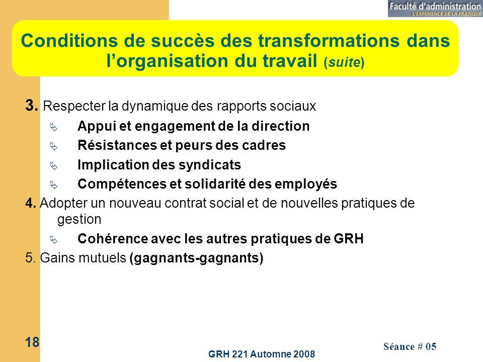 GRH 221 Automne 2008 18 Séance # 05 Conditions de succès des transformations dans lorganisation du travail (suite) 3. Respecter la dynamique des rappo