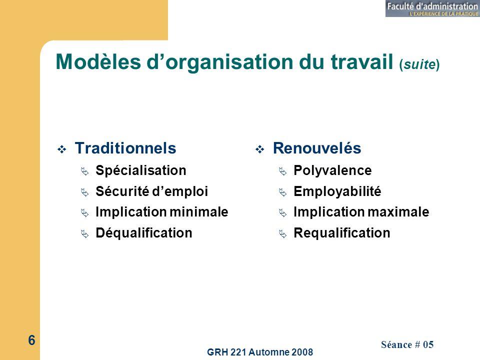 GRH 221 Automne 2008 6 Séance # 05 Modèles dorganisation du travail (suite) Traditionnels Spécialisation Sécurité demploi Implication minimale Déquali