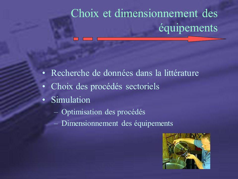 Choix et dimensionnement des équipements Recherche de données dans la littérature Choix des procédés sectoriels Simulation –Optimisation des procédés