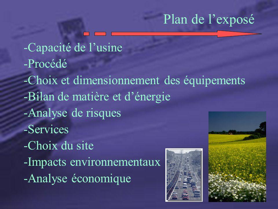 -Capacité de lusine -Procédé -Choix et dimensionnement des équipements -Bilan de matière et dénergie -Analyse de risques -Services -Choix du site -Imp