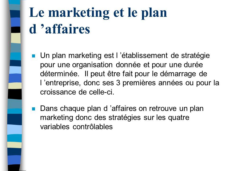 Le marketing et le plan d affaires n Un plan marketing est l établissement de stratégie pour une organisation donnée et pour une durée déterminée. Il