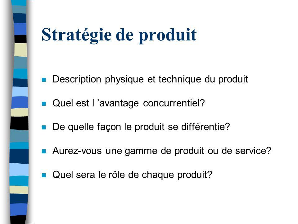 Stratégie de produit n Description physique et technique du produit n Quel est l avantage concurrentiel? n De quelle façon le produit se différentie?