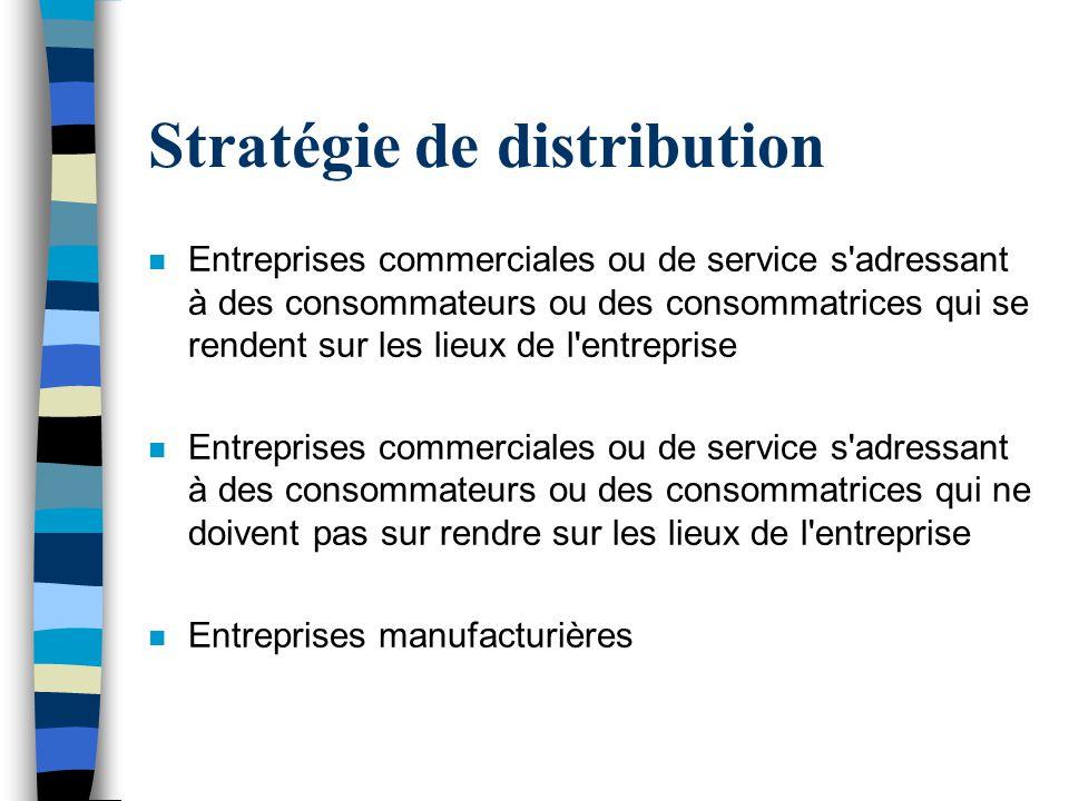 Stratégie de distribution n Entreprises commerciales ou de service s'adressant à des consommateurs ou des consommatrices qui se rendent sur les lieux
