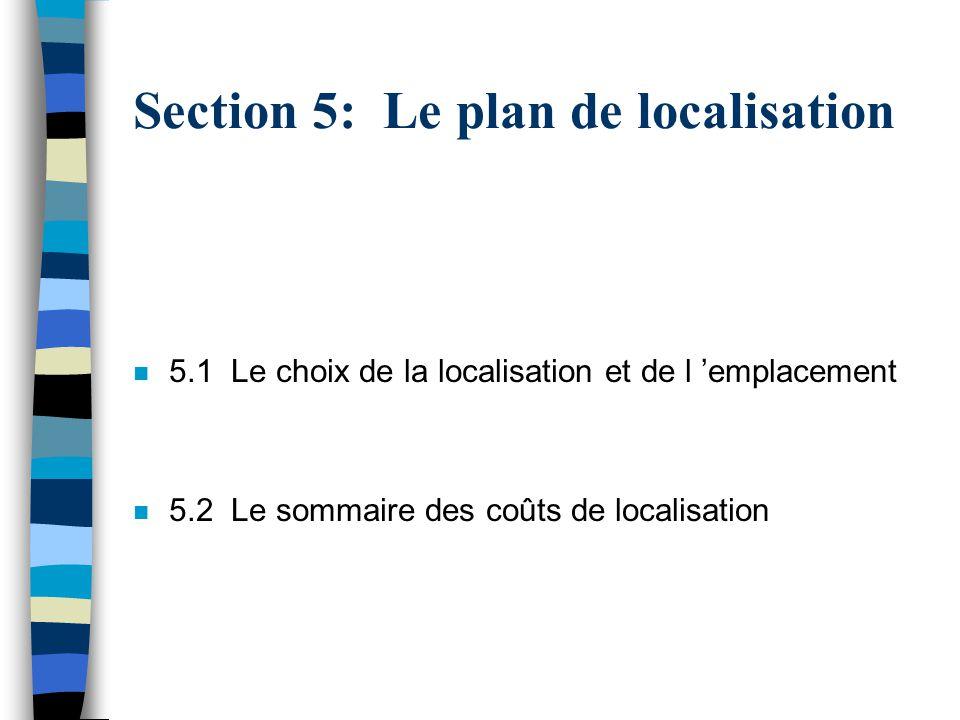 Section 5: Le plan de localisation n 5.1 Le choix de la localisation et de l emplacement n 5.2 Le sommaire des coûts de localisation