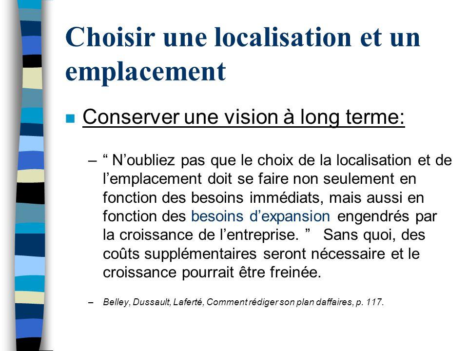 Choisir une localisation et un emplacement n Conserver une vision à long terme: – Noubliez pas que le choix de la localisation et de lemplacement doit