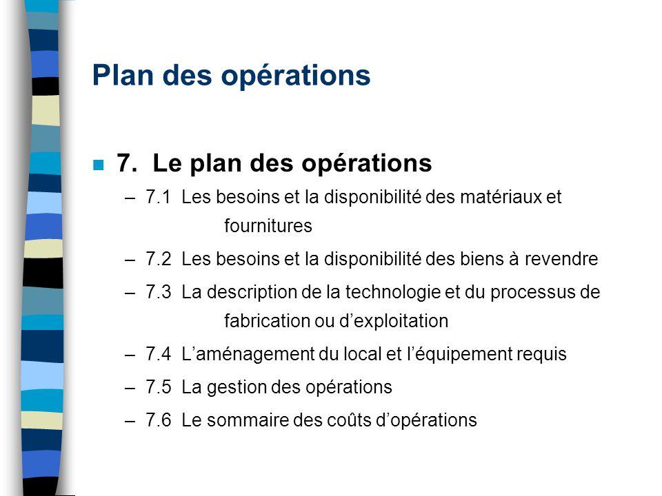 Plan des opérations n 7. Le plan des opérations –7.1 Les besoins et la disponibilité des matériaux et fournitures –7.2 Les besoins et la disponibilité