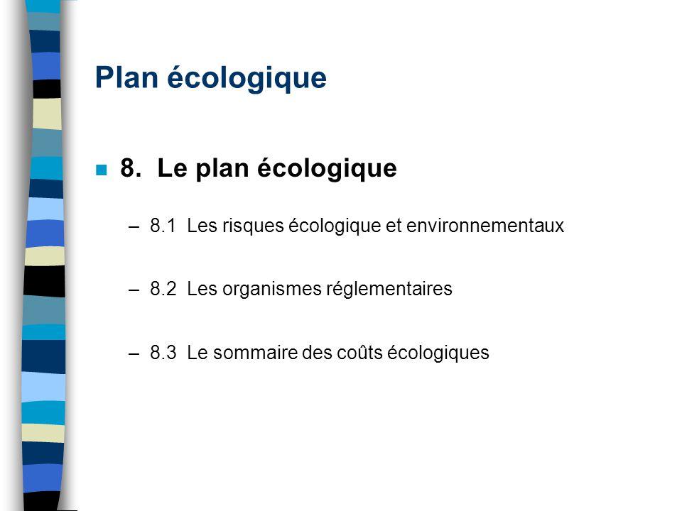 Plan écologique n 8. Le plan écologique –8.1 Les risques écologique et environnementaux –8.2 Les organismes réglementaires –8.3 Le sommaire des coûts