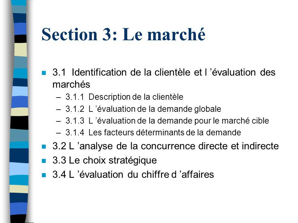 Section 3: Le marché n 3.1 Identification de la clientèle et l évaluation des marchés –3.1.1 Description de la clientèle –3.1.2 L évaluation de la dem