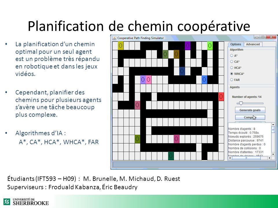 Planification de chemin coopérative La planification dun chemin optimal pour un seul agent est un problème très répandu en robotique et dans les jeux vidéos.