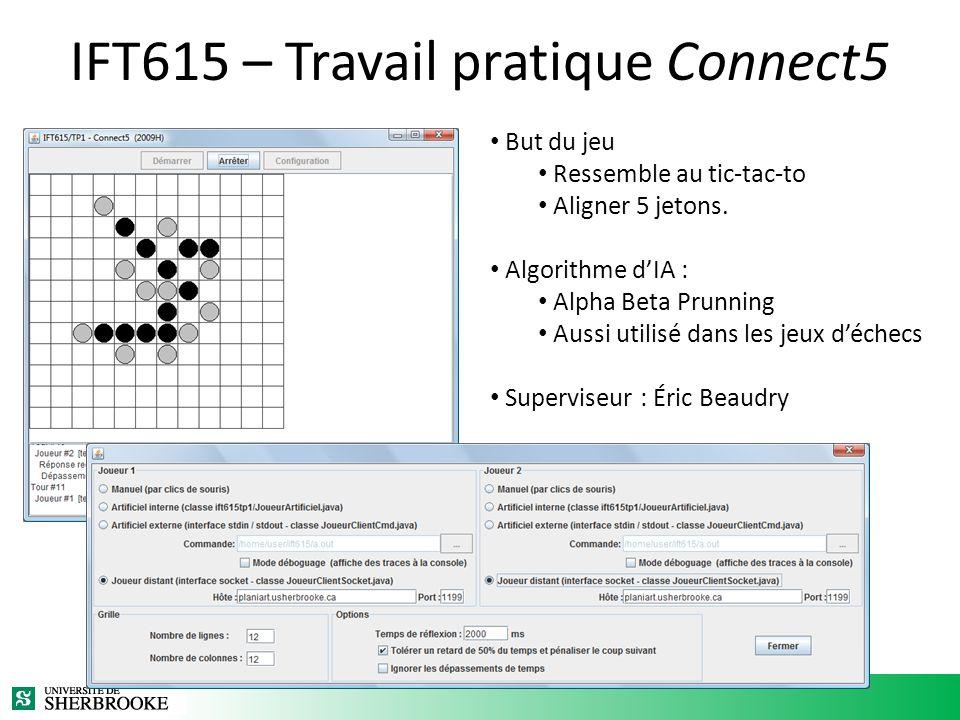 IFT615 – Travail pratique Connect5 But du jeu Ressemble au tic-tac-to Aligner 5 jetons. Algorithme dIA : Alpha Beta Prunning Aussi utilisé dans les je