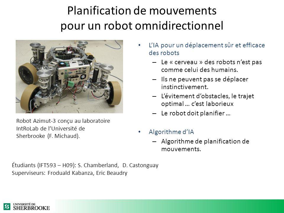 Planification de mouvements pour un robot omnidirectionnel LIA pour un déplacement sûr et efficace des robots – Le « cerveau » des robots nest pas comme celui des humains.